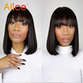 Short Human Hair Wigs Bang Unprocessed Virgin Lace Front Human Hair Wigs Bob Indian Remy Human Hair Lace Front Wig Black Women