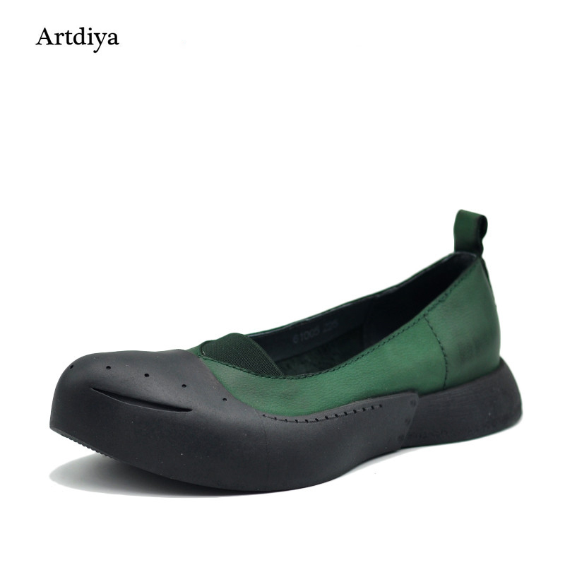 Artdiya Original 2019 New Retro Personality Pointed Toe Shoes Shallow Mouth Genuine Leather Flat Women Shoes 61005-in Women's Flats from Shoes    1