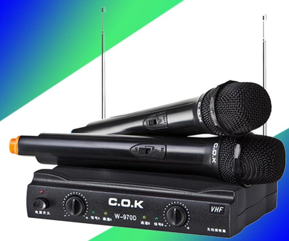 C.o.k w-970d один с двумя беспроводной микрофон ктв компьютер кара ок петь караоке микрофон дома