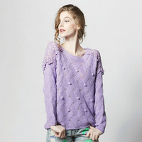 Discount during the spring and autumn winter clothes sweater Loose collar lace hollow out smock flowers sweater