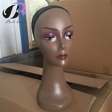 Free Shipping! ABS Realistic Black Female wig stand Wigs head with Hairnet hairdressing training head without hair(China)