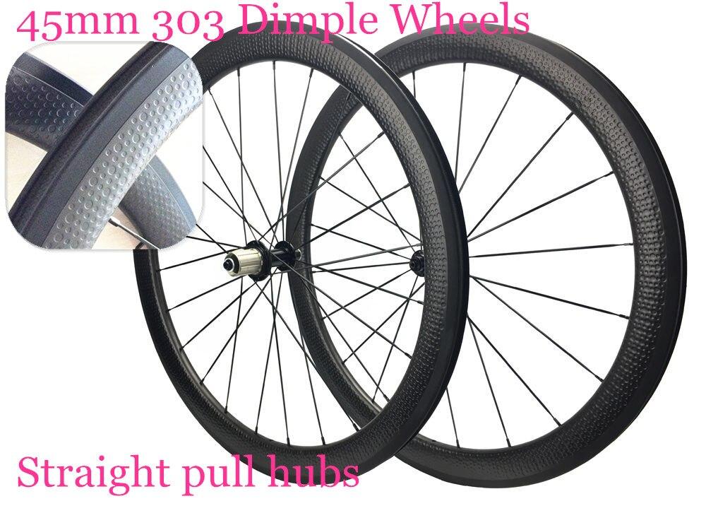 Dimple 25mm rim width 45mm full carbon dimple wheelset 700C wheels road bike dimple wheels with OEM decals