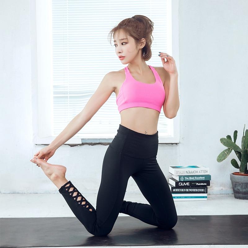 Eshtanga capris 2017 NWT Women Solid Elastic Waist Quick Dry high waist tight sexy Yoga crop 4-way stretch Pants size xs-xl