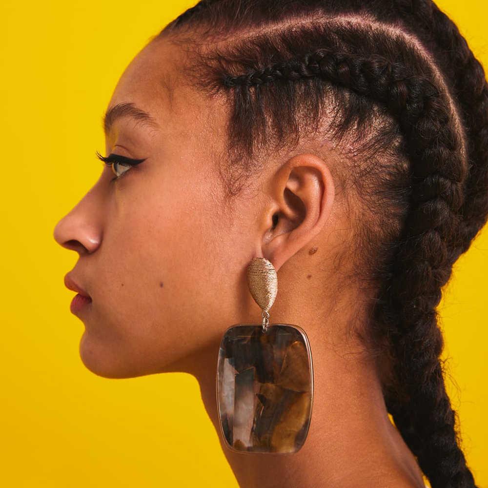 2019 New Za Dangle Drop Earrings For Women Bohemian Acrylic Resin Big Geometric Statement Hanging Earring Abalone Shell Jewelry