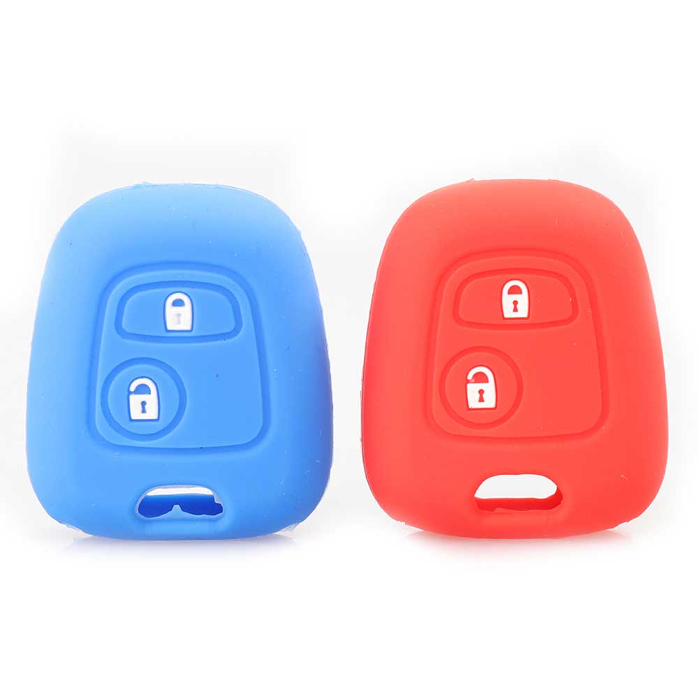 4 Kleuren 2 Knoppen Silicone Key Cover Case Fit Voor Peugeot 206 307 207 408 Sleutel Bescherming Cover Auto Styling Sleutel Shell Minder Duur