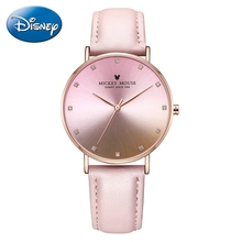 Lady Cute Gradient Color Leather Waterproof Quartz Watches Women's Luxury Disney Mickey Mouse Trendy Watch Woman Fashion Clocks