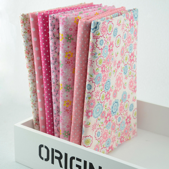 """FREE SHIPPING 7 pieces/lot 50cmx50cm Cotton Fabric Fat Quarter Bundle Quilting Patchwork Tilda Fabric Sewing """"Cute Pink"""" W1A3-2"""
