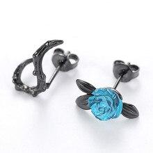 Новые модные серьги-гвоздики с голубыми розами черного цвета для женщин, асимметричные Винтажные Ювелирные изделия Brincos