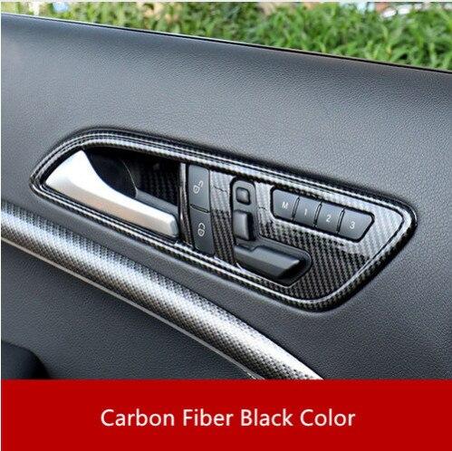 Garniture de couverture de poignet de cuvette de porte intérieure de couleur de Fiber de carbone d'abs 4 pièces pour la classe de Mercedes Benz CLA (13-18) GLA (13-15) A (13-18) B (12-18)