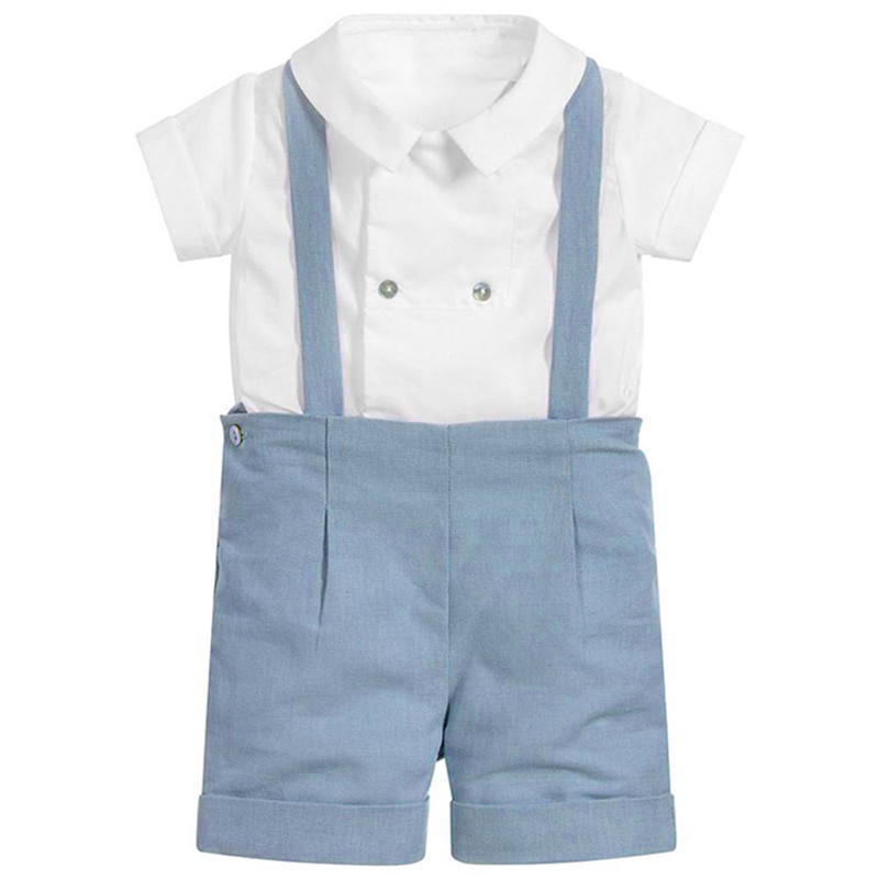 UK Prince Clothes Baby Boy Clothing Set Infant White Short Sleeve Shirt Top + Boy Short Pants Overalls Christening Baptism party