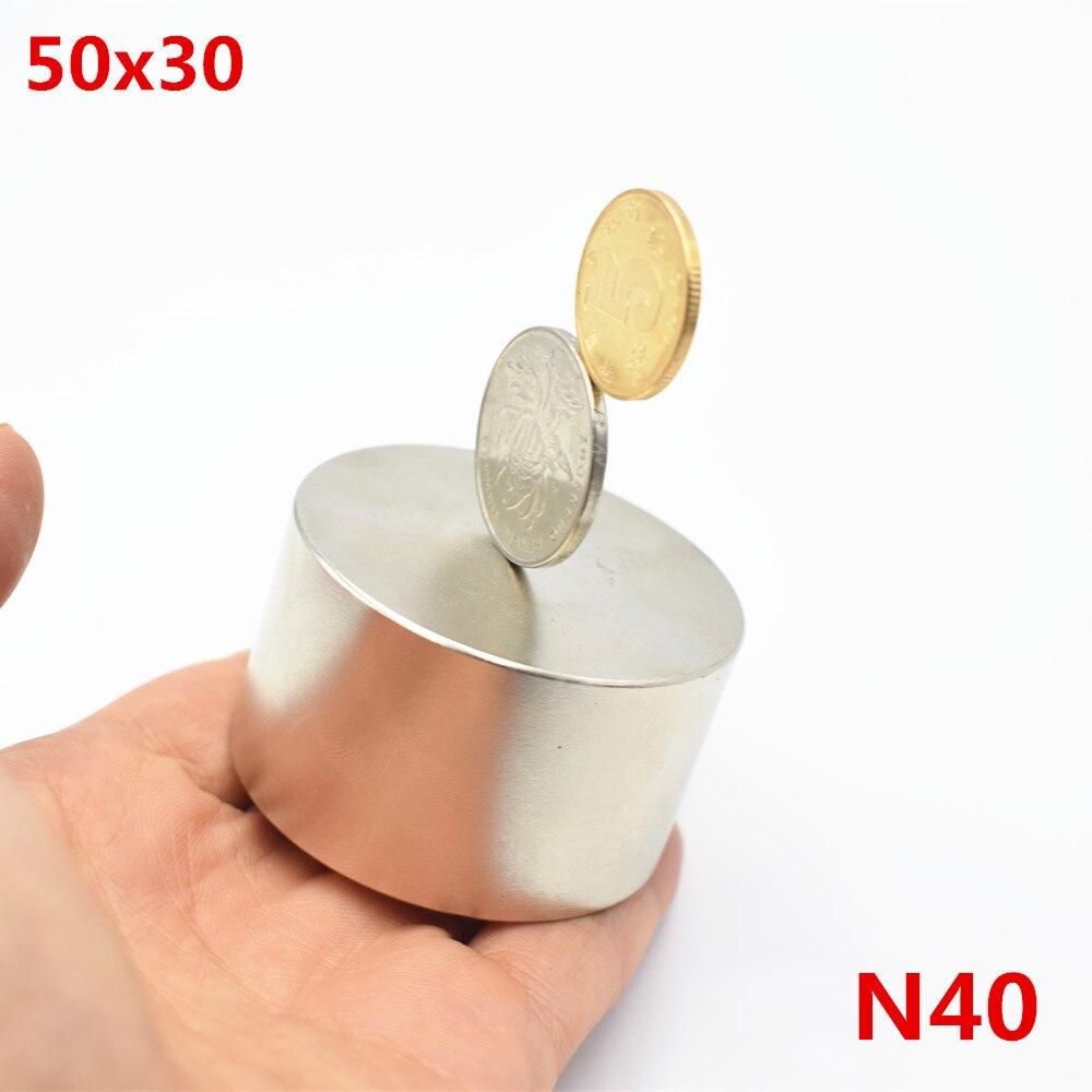 Неодимовый магнит 50x30 N40 редкоземельных супер мощная круглый сварки поиск постоянного магнитного 50*30 мм галлия металлический диск