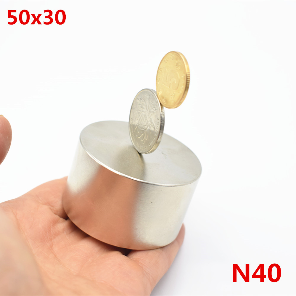 Neodymium magnet <font><b>50x30</b></font> N40 rare earth super strong powerful round welding search permanent magnetic 50*30mm gallium metal disc image