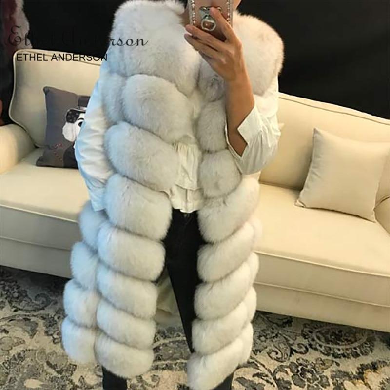 Новый дизайн Женская натуральный длинный Лисий мех жилет толстый Осень Зима вся кожа натуральный Лисий мех жилет Genunie Меховая куртка жилет