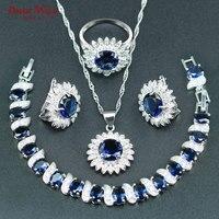DANDY ZAL Blauw Zonnebloem Wit CZ Sieraden 925 Zilveren Kleur Ketting/Oorbellen/Armband/Ring/Hanger Sieraden Set Voor Vrouwen