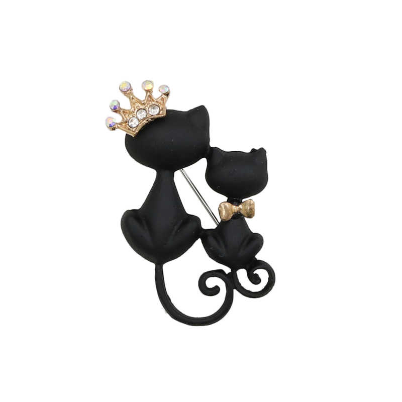 OneckOha Enamel Hitam Kecantikan Kucing Bros Berlian Imitasi Animal Crown Pin Hadiah Ulang Tahun