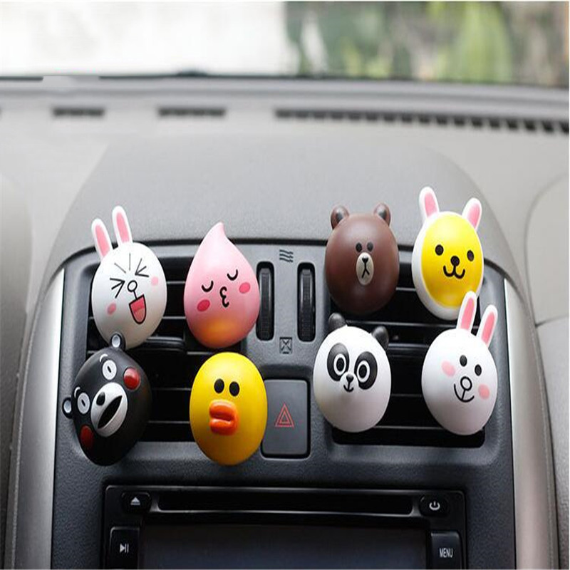 AutoEC 1x Car air Outlet Perfume Cute cartoon Air freshener clip cartoon emoji Auto Interior Decoration #LQ974 car outlet perfume air freshener with thermometer lime