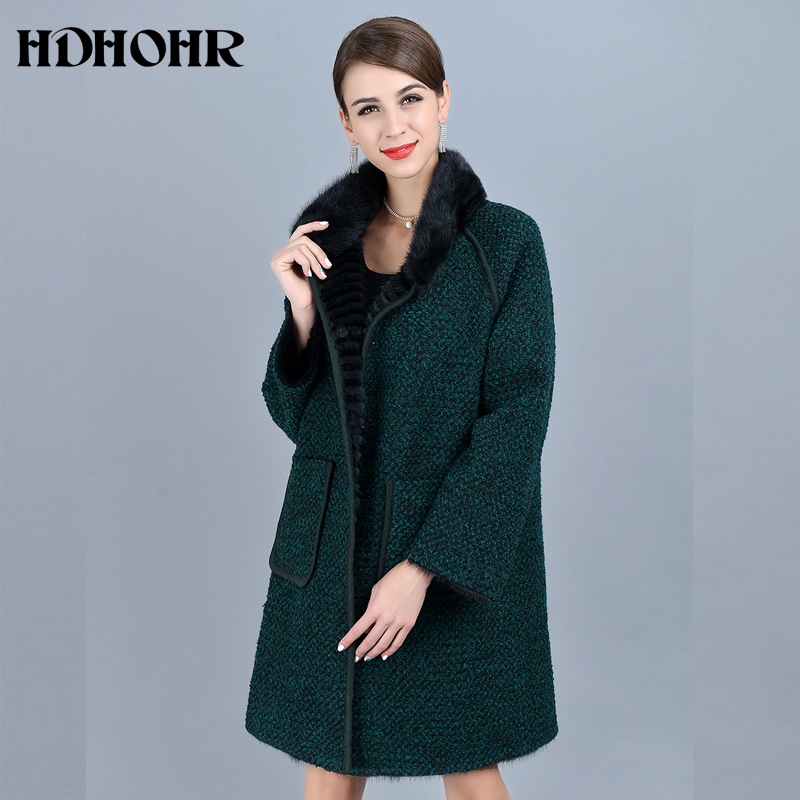 HDHOHR 2019 High Quality Knitted Mink Fur Coats Fashion Natural Mink Jacket Double Side Wear Winter Female Warm Genuine Fur Coat