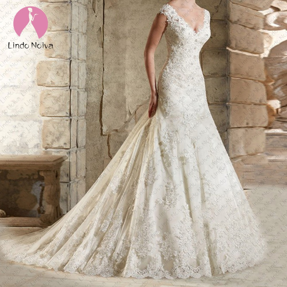Vestido de Noiva Lace Mermaid Wedding Dress 2019 Appliques Beaded Vintage Bridal Wedding Gowns Bridal Dresses