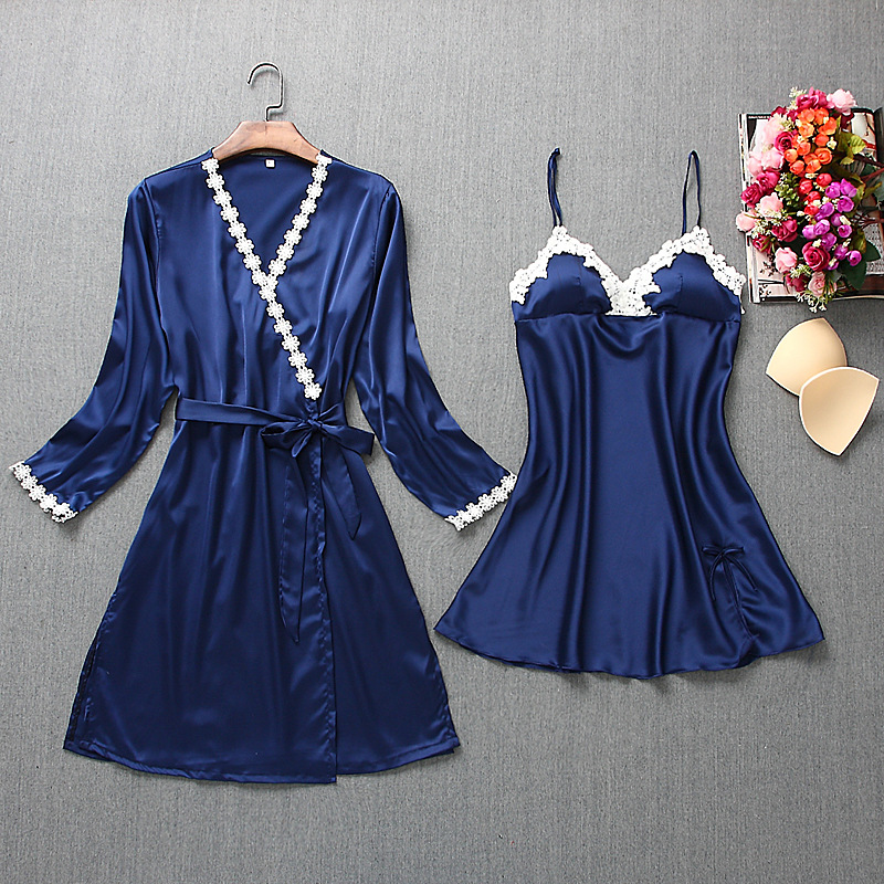 Fiklyc brand womens robe & gown sets mini nightdress + long sleeve bathrobe two-pieces female sexy floral lingerie nighties HOT 1