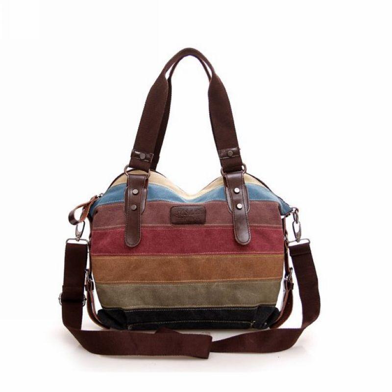ФОТО Canvas Bag Striped Women Handbags Patchwork Women Shoulder Bag New Fashion Women Bag Casual Women's Handbag bolsa  H6035