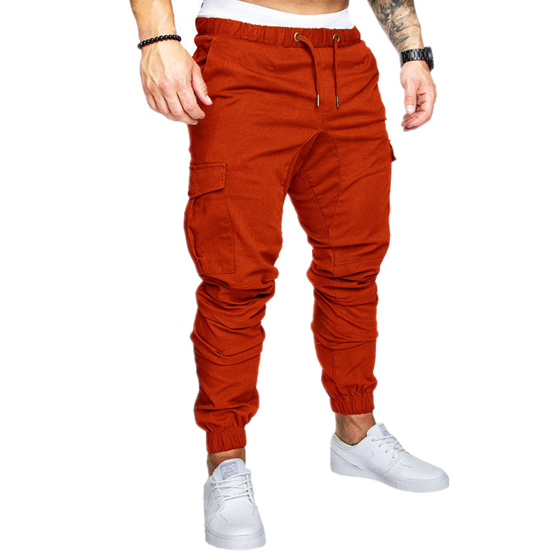 New 2019 Brand Men Joggers Male Trousers Casual Sweatpants Men Pocket overalls Cotton Fitness Workout hip hop Elastic Pants in Skinny Pants from Men 39 s Clothing