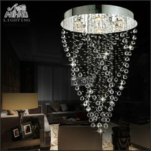 цена на Modern Spiral Crystal Chandelier Light Fixture Long Crystal Light Lamp Flush Mounted Stair Light Fitting for staircase villa