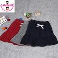 Campurer Girls Skirts 2016 New Winter Cute Solid Child Ruffles High Stretch Knit Skirt Girls A-Line Half-Length Princess Skirt