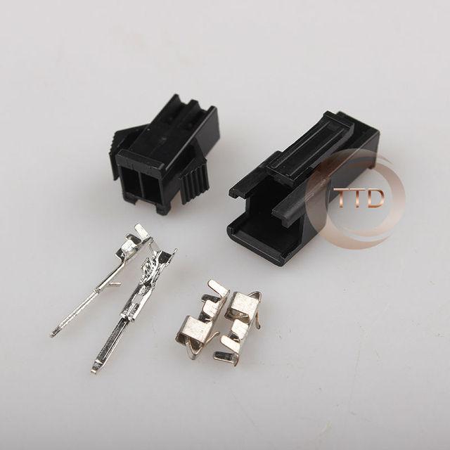 Livraison gratuite 100 ensembles JST 2.54mm SM 2 broches 2 voies connecteur multipolaire prise avec ternimal mâle et femelle 2.54 MM