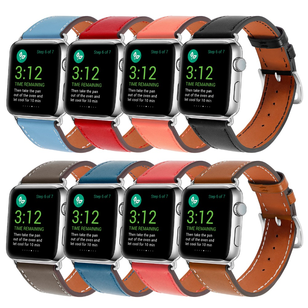 Leather Band For Apple Watch Series 4 40mm 40mm Strap Black Brown Red Orange Blue Bracelet For iWatch Series 1&2&3 38mm 42mm 42mm 38mm for apple watch s3 series 3