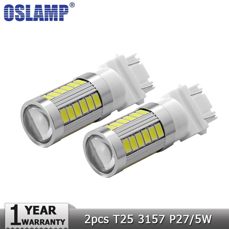 Oslamp 2 stücke T25 3157 P27/5 Watt Auto Led-lampen 12 V 6000 Karat ...