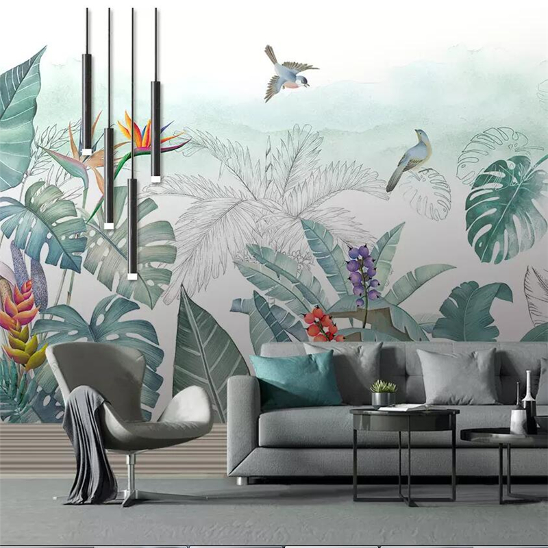Beibehang Nordic Hand-painted Small Fresh Tropical Plants Flowers And Birds Background Murals Custom Large Mural Wallpaper