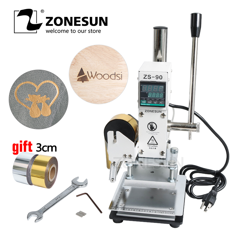 ZONESUN ZS90 110V/220V Manual Adjustable Temperature Hot Foil Leather Embossing Pressing Logo Heat Press Stamping Machine
