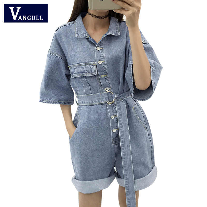 Vangull Zomer Casual Vrouwen Denim Romper Hoge Taille Jeans Overall Wijde Pijpen Jumpers Revers Pocket Shorts Jumpsuit Playsuit 2019