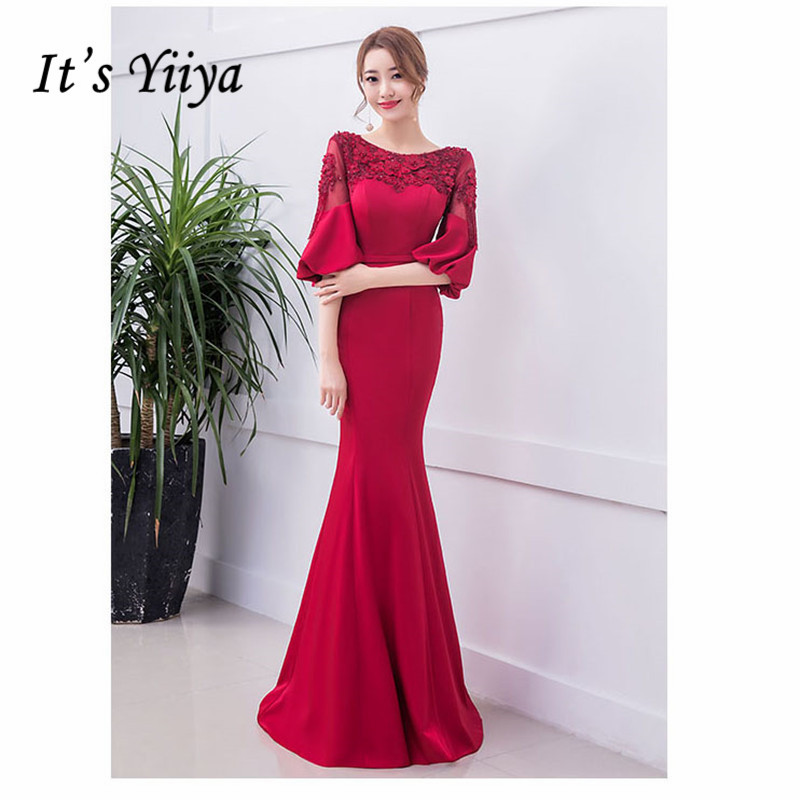 It's YiiYa Robe De Soiree Backless Lace Up Mermaid Women Party Dress Half Sleeve Tunic Long Evening Dress Plus Size 2019 E498