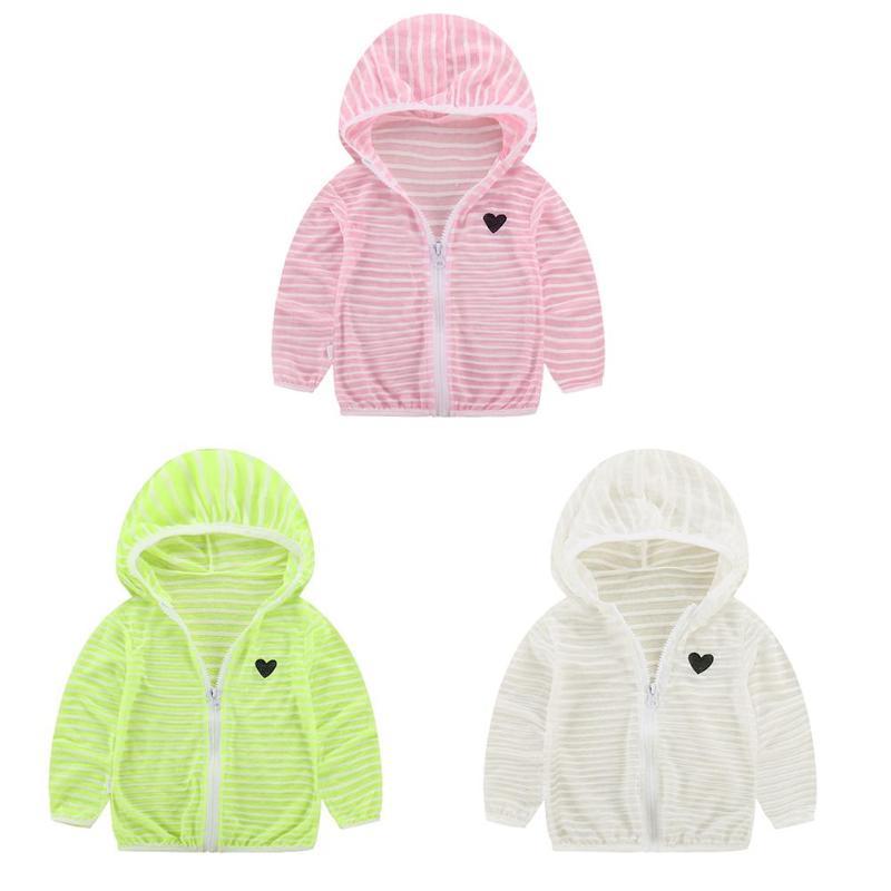 Летняя дышащая детская одежда Удобная для мальчиков и девочек с длинным рукавом в полоску с капюшоном солнце пальто на молнии Верхняя одежд...