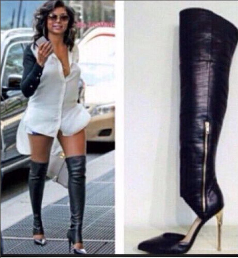 Newest Arrival Gladiator Knee High Boots Cut-Outs Leather Pointed Toe Thin High Heels Fashion Boots Sexy Women Party Shoes patent leather knee high fashion women boots buckle strap cool motorcycle boots thin high heels cut outs sandals boots shoes