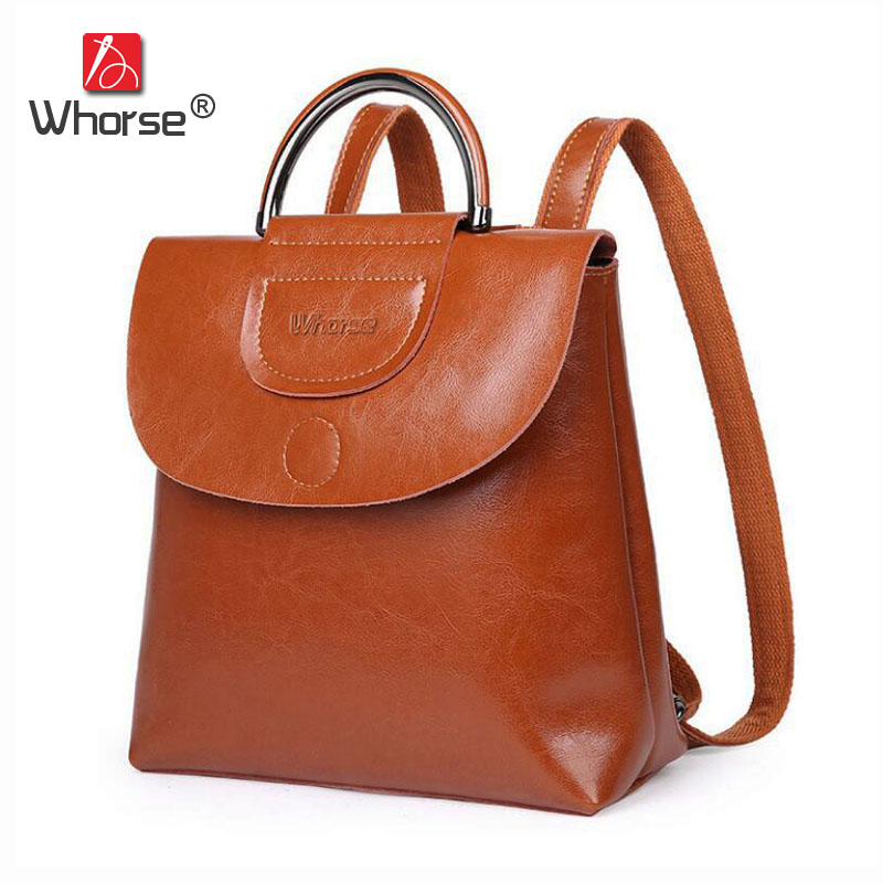 Brand Vintage Casual Genuine Leather Top Handle Backpack School Bag Womens Cowhide Backpacks Back Pack Travelling Bags W09490