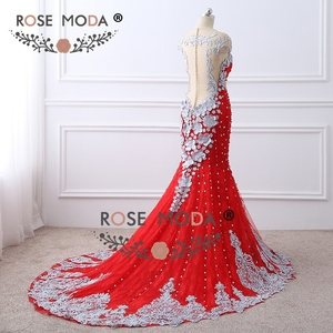 Image 4 - Gül Moda Lüks Ağır Boncuklu Kırmızı Dantel Mermaid Balo Elbise ile Çıplak Geri El Yapımı 3D Çiçekler Inci Düğmeler Resmi Parti elbise