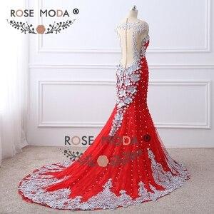 Image 4 - Rosa Moda di Lusso Fortemente In Rilievo Red Lace Mermaid Prom Dress con Schiena Nuda Handmade 3D Fiori Bottoni in Madreperla Partito Formale vestito