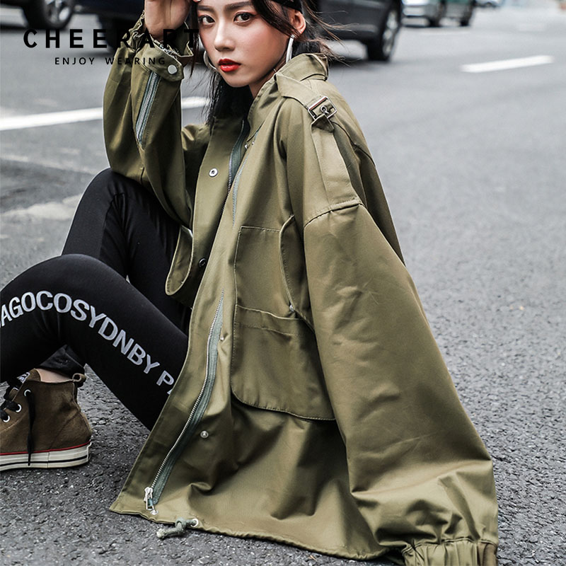 Cheerart Green Oversise Trench Coat For Women Oversized Windbreakers Long Duster