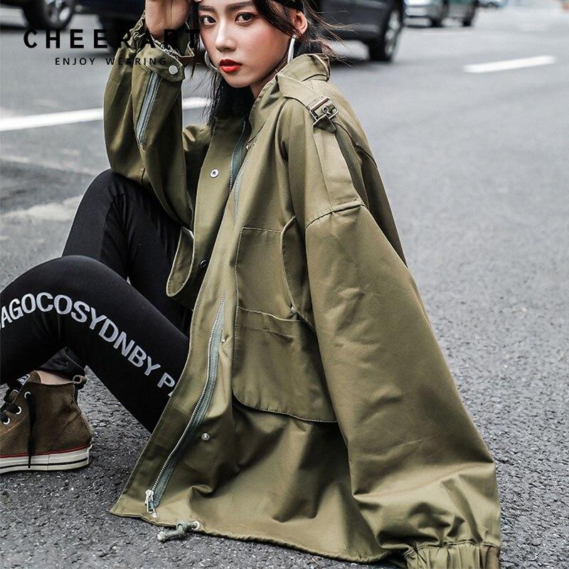 Cheerart Green Oversise   Trench   Coat For Women Oversized Windbreakers Long Duster Coat 2018 Autumn Women Fashion