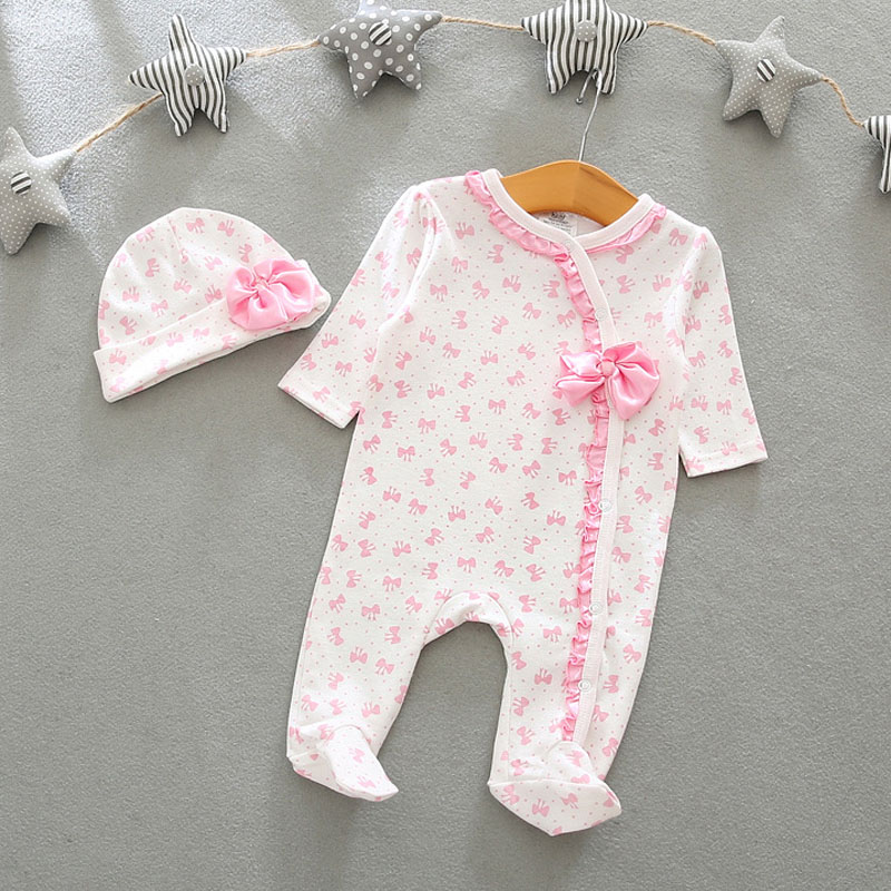 Newborns Bodysuits Cotton Baby Clothing Rompers 0-9M Even The Jumpsuit + Hat Two Colors Can Wear Baby Boy Girl Clothing