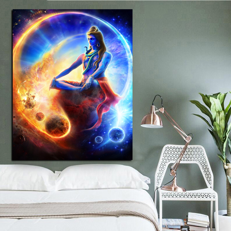 Print Wall Indian Art Buddha Meditation Psychedelic Poster Shiva Painting on Canvas Modern Cuadros Decor Picture For Living Room (2)