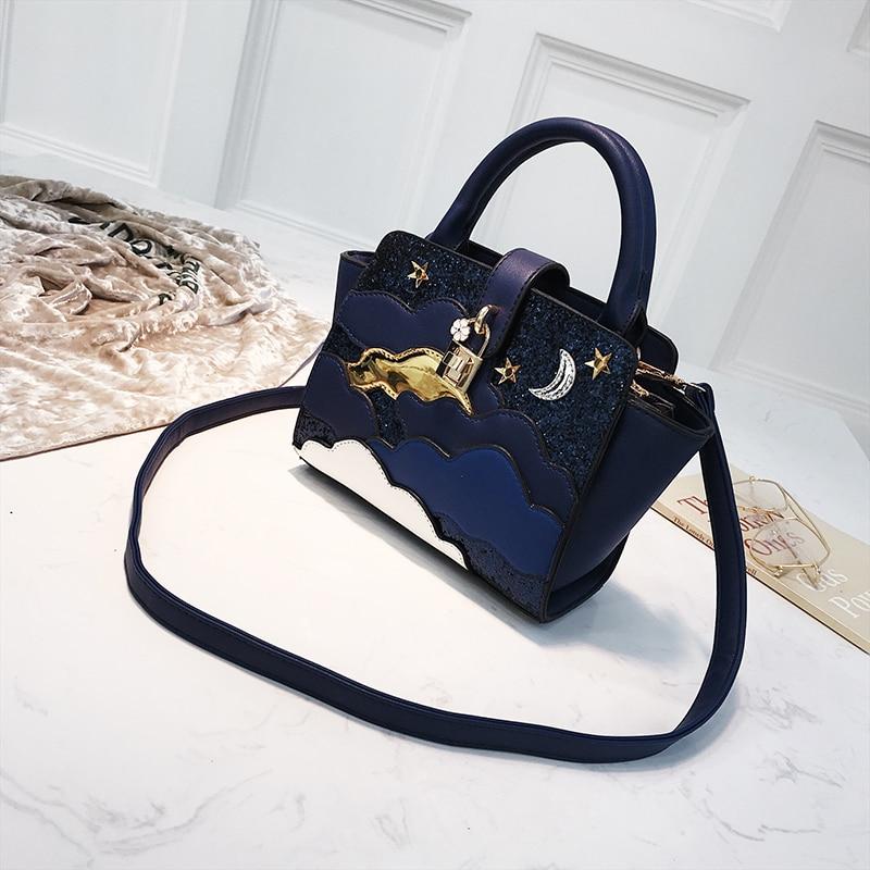 Women Crossbody Bag Small Messenger PU Leather Solid Mini Saddle Femal Shoulder Starry Sky Bags Handbags Evening Purse