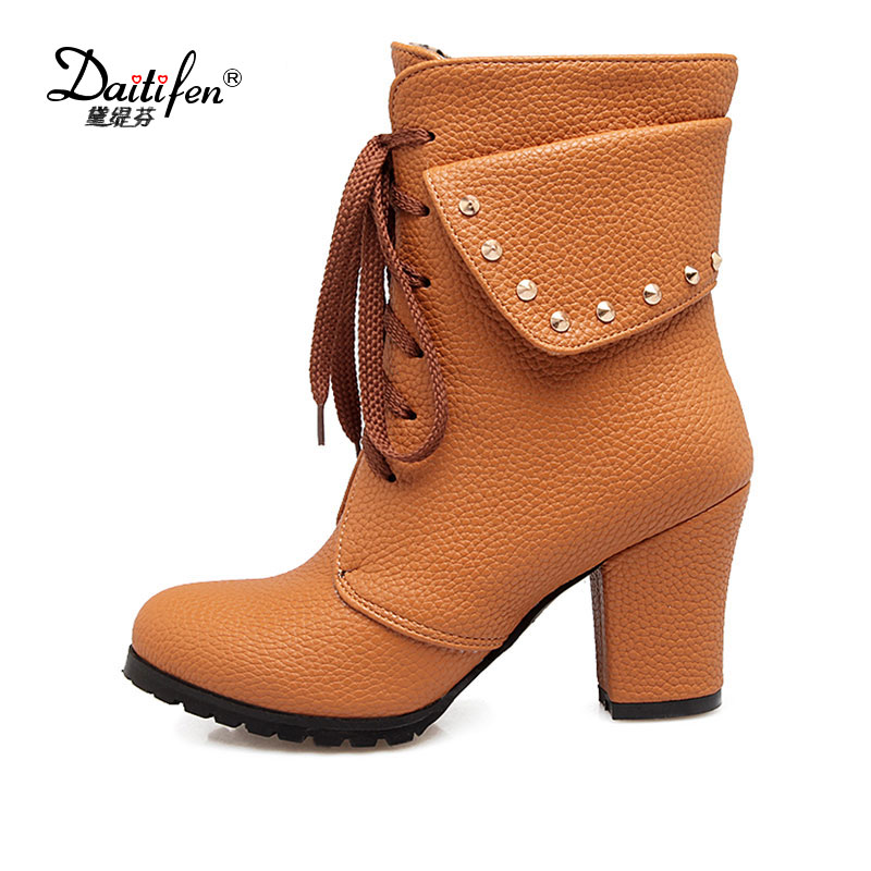 Daitifen 2017  Women Boots Thick High Heels Women Autumn Shoes 2017 Casual Platform Lace up Ankle Boot for Women Winter Big Size autumn and winter short cylinder boots with high heels boots shoes martin boots women ankle boots with thick scrub size35 39
