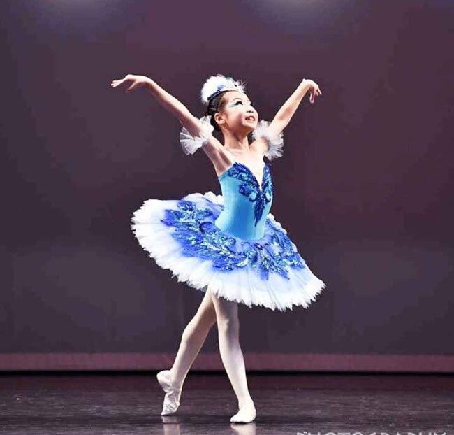Menina azul pássaro ballet tutu vestidos cinta ballet collants para feminino ballet infantil menina panqueca tutu bailarina