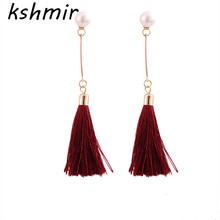 Eardrop fashion jewelry Accessories manufacturers selling new stock hand tassel pearl earrings. The pendants
