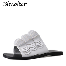 купить Bimolter Shoes Woman Leather Slippers Indoor Outdoor Flat Heel Sandals Slipper Beach Shoes Slippers Women Platform Shoes FB026 по цене 4303.61 рублей