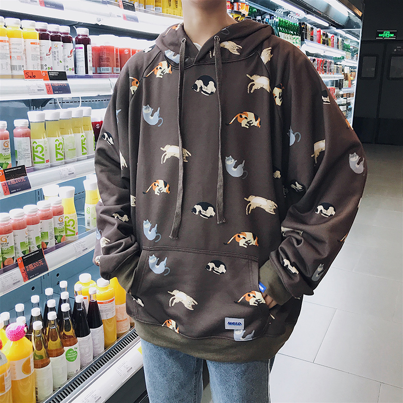 2018 Spring Newest Mens Fashion Cat Printing Coat Hooded Pullovers Loose Casual Hoodies Cotton High-quality Sweatshirts M-XL