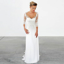 Bbonlinedress Sheath Chiffon and Lace Wedding Dresses Illusion Scoop Neck Bridal Gowns Vestido de novia Long